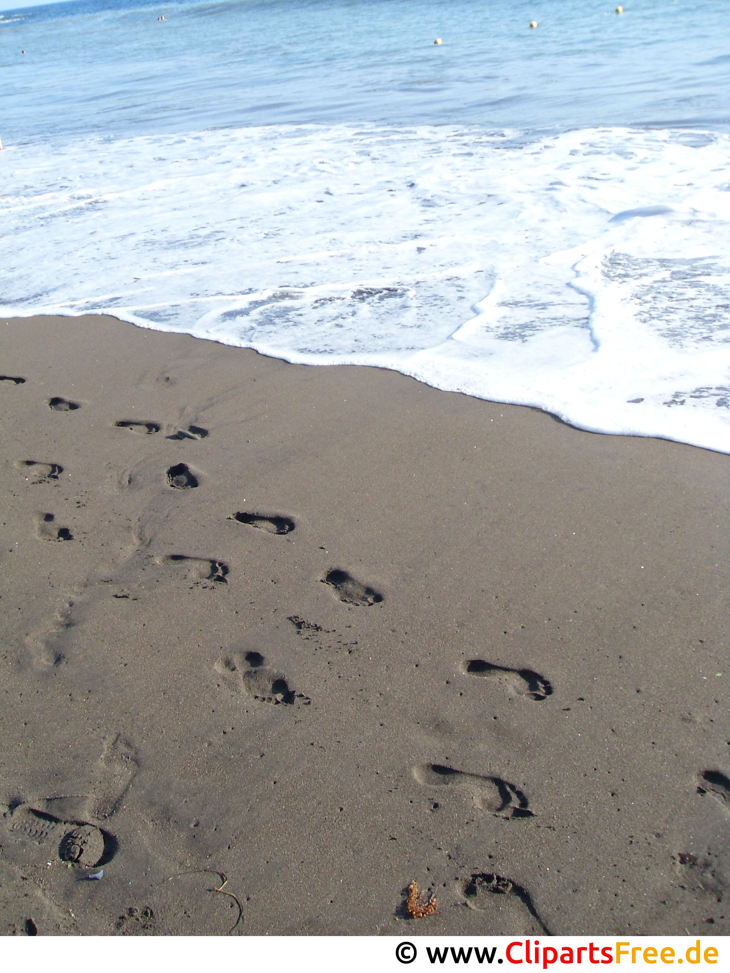 Fussabdrücke im Sand Urlaubsfoto kostenlos