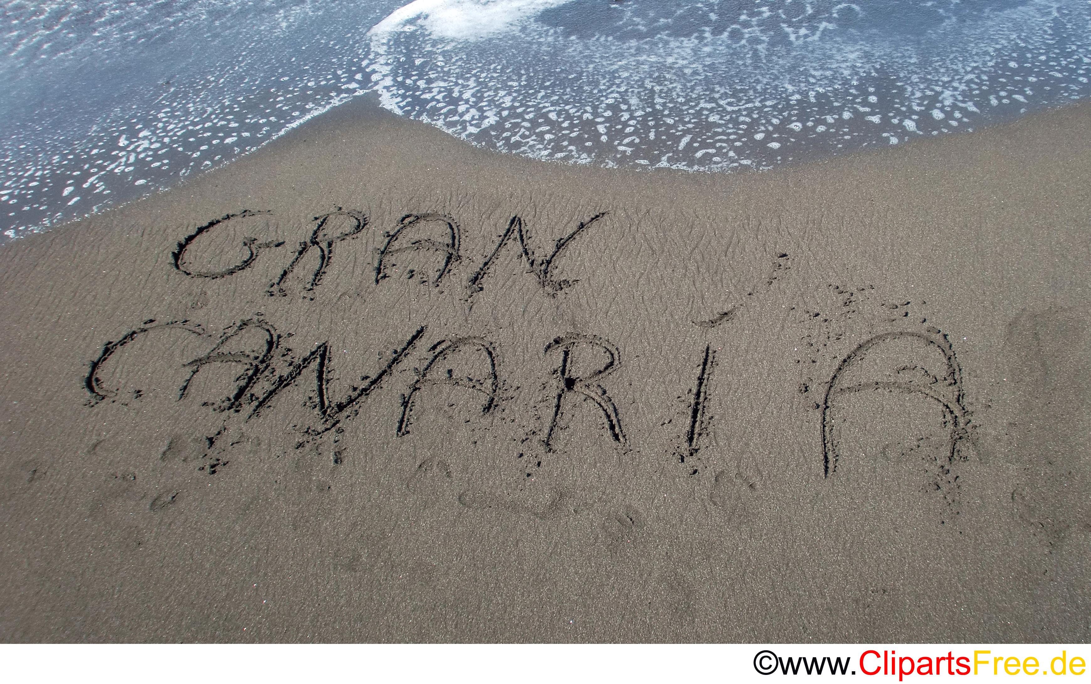 Handschrift im Sand am Strand Foto kostenlos