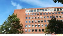Old red brick office building free photo