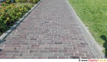 Footpath paved with red bricks photo, picture, graphic