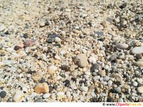 Steiniger Sand am Strand Foto