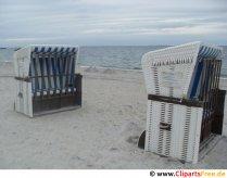 Strandstole på stranden ved Østersøen Foto Stock Free