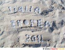 Skrifttype lavet af sten på Sand Italia 2011