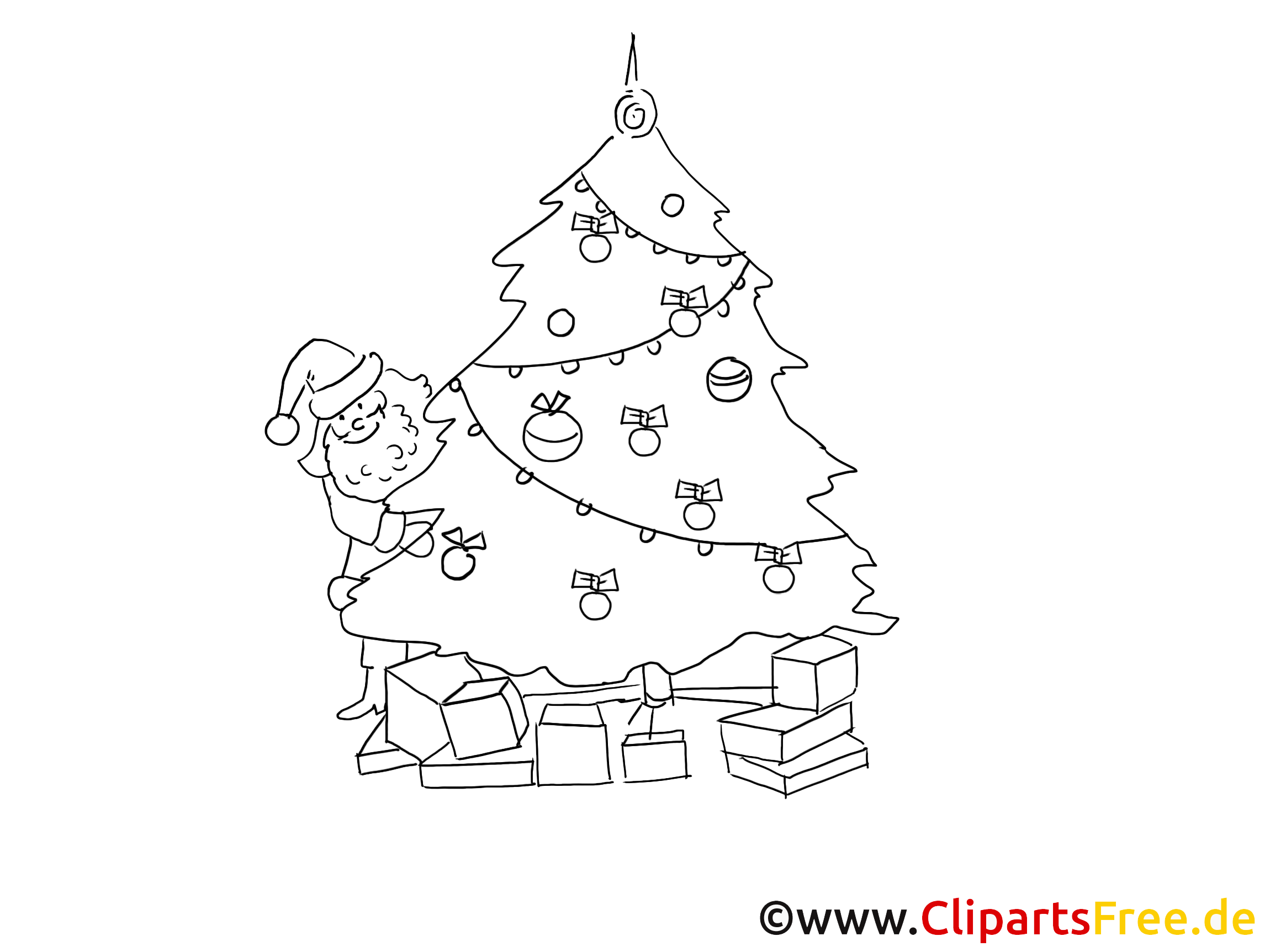 Clipart Schwarz Weiss zu Weihnachten