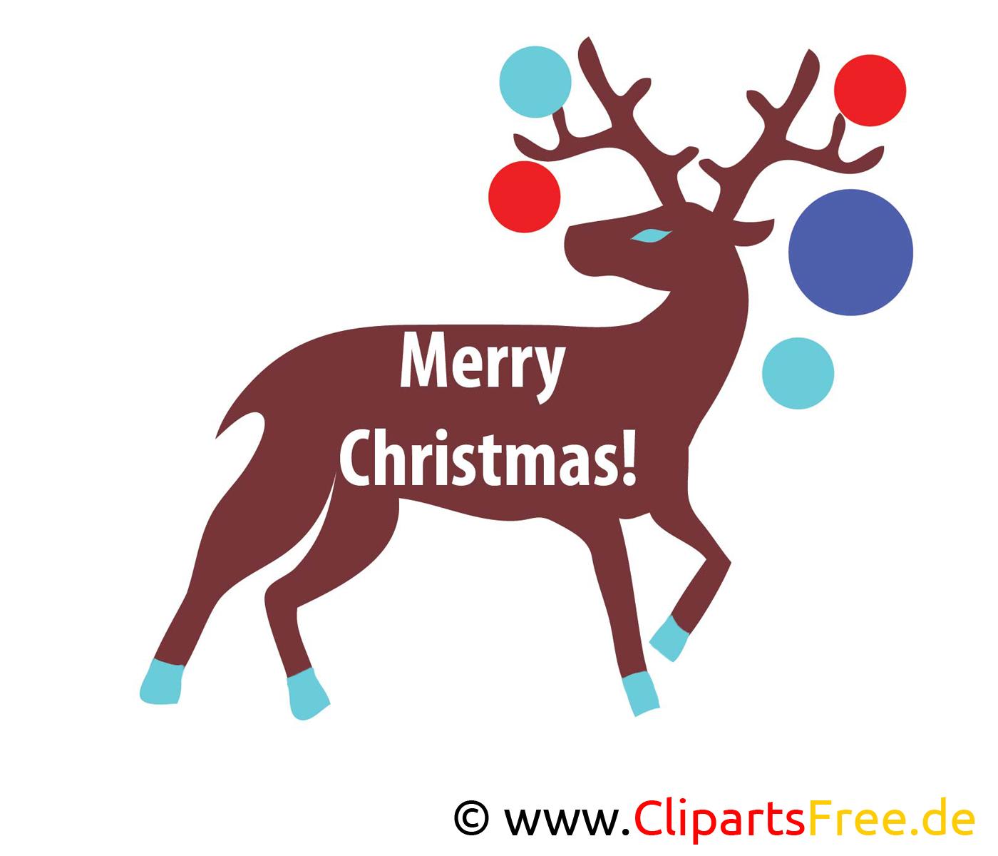 Hirsch Weihnachten Bild, Clip Art, Image, Grafik, Illustration gratis