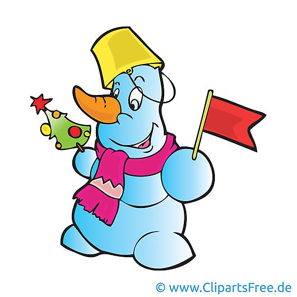 Schneemann mit Flagge Clipart, Bild, Cartoon, Grafik, Illustration