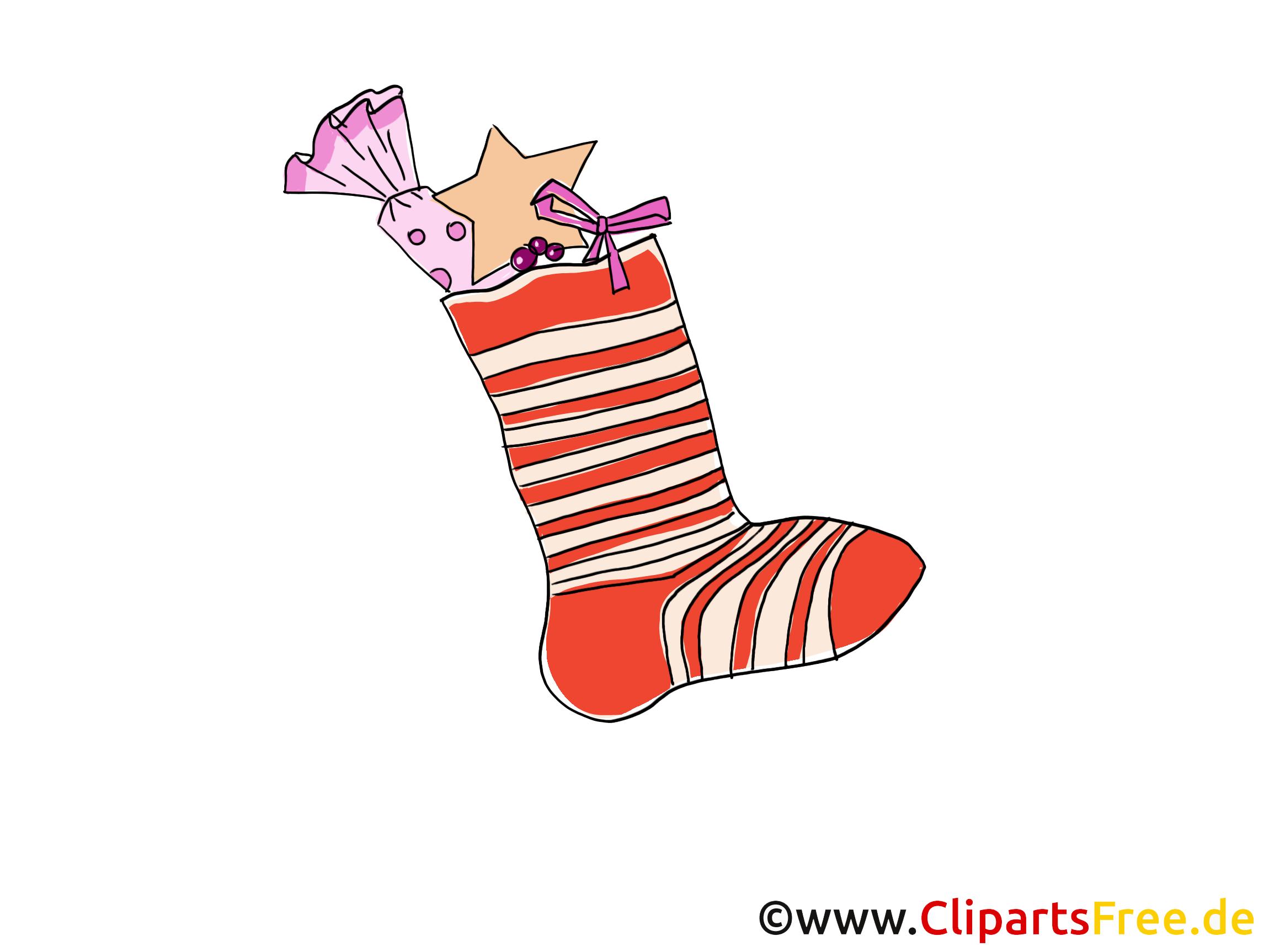 Weihnachts-Socke mit Geschenken Bild, Clipart, Cartoon