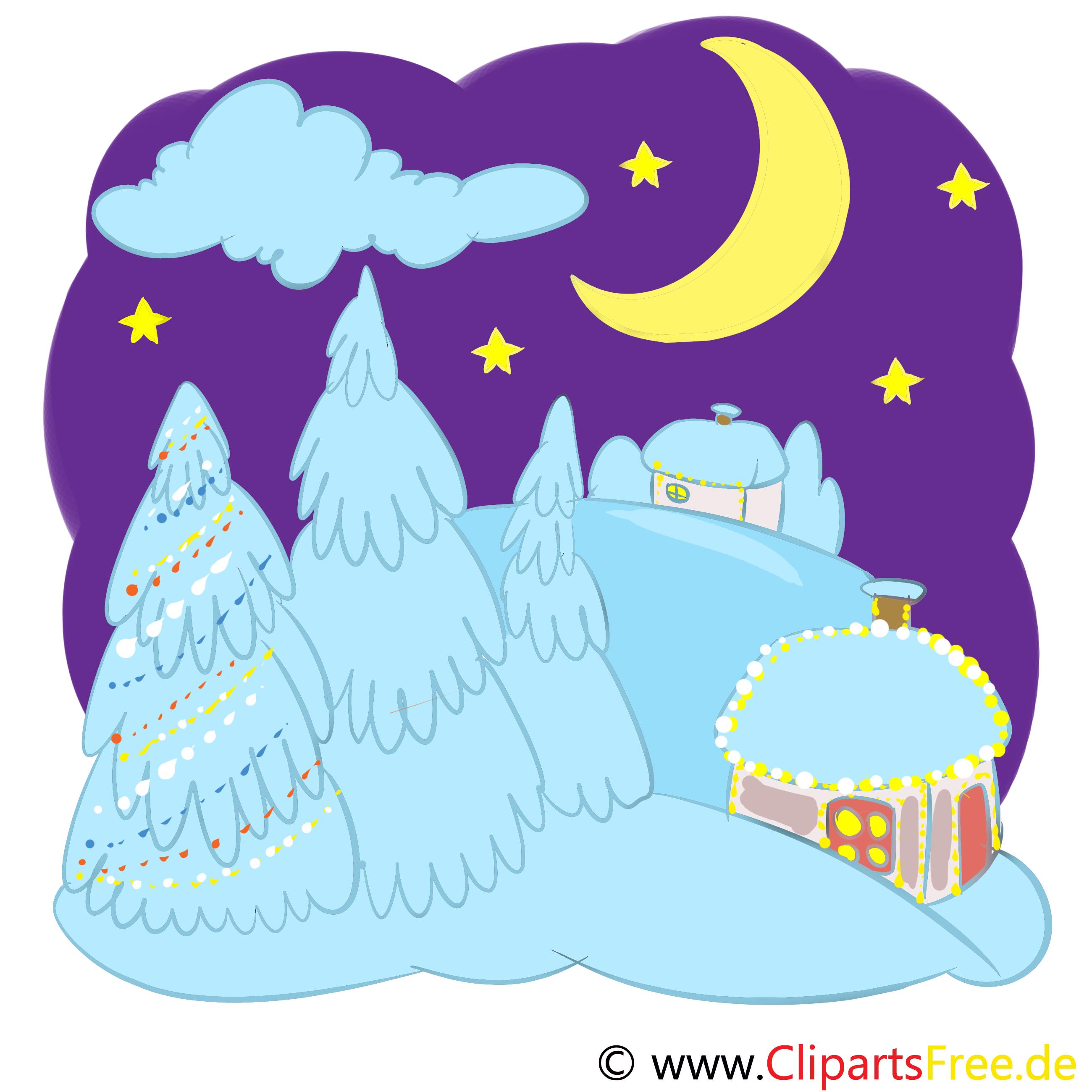 Weihnachtsnacht, Weihnachten Nacht Illustration, Bild, Grafik, Clipart
