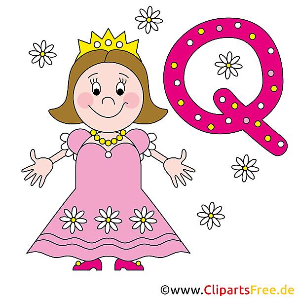 Q if for Queen - Buchstaben Schablonen zum Ausdrucken