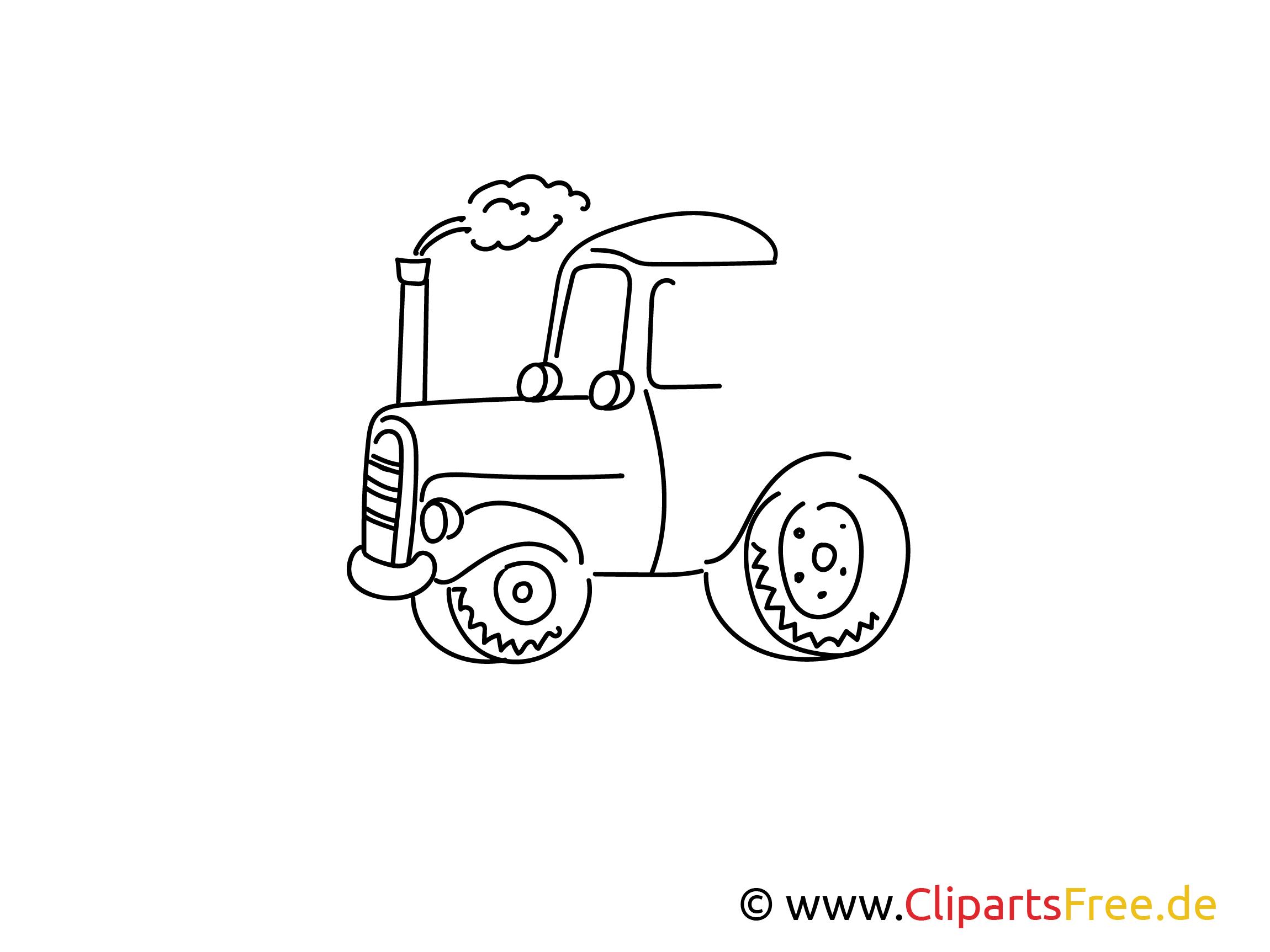 Traktor einfache Weitermal Druckvorlage für Grundschule