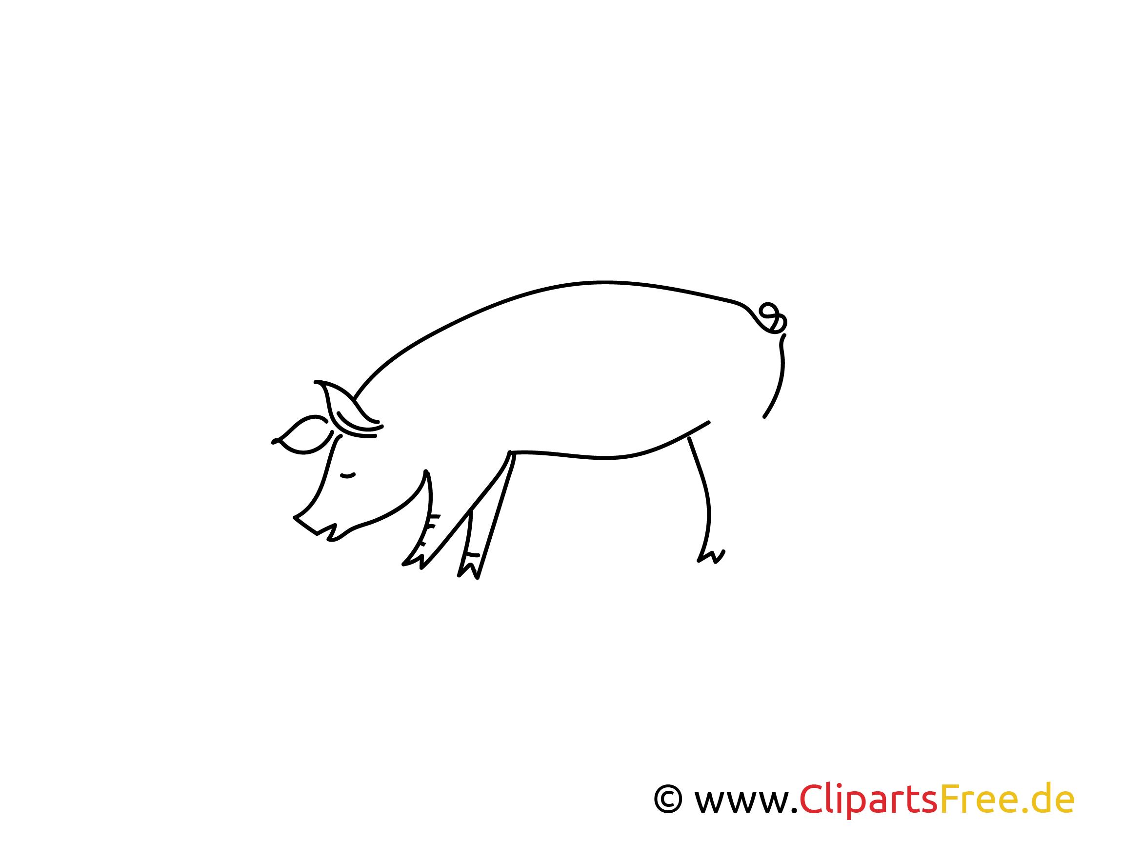 Für Kindergarten Weitermal Druckvorlage Schwein kostenlos