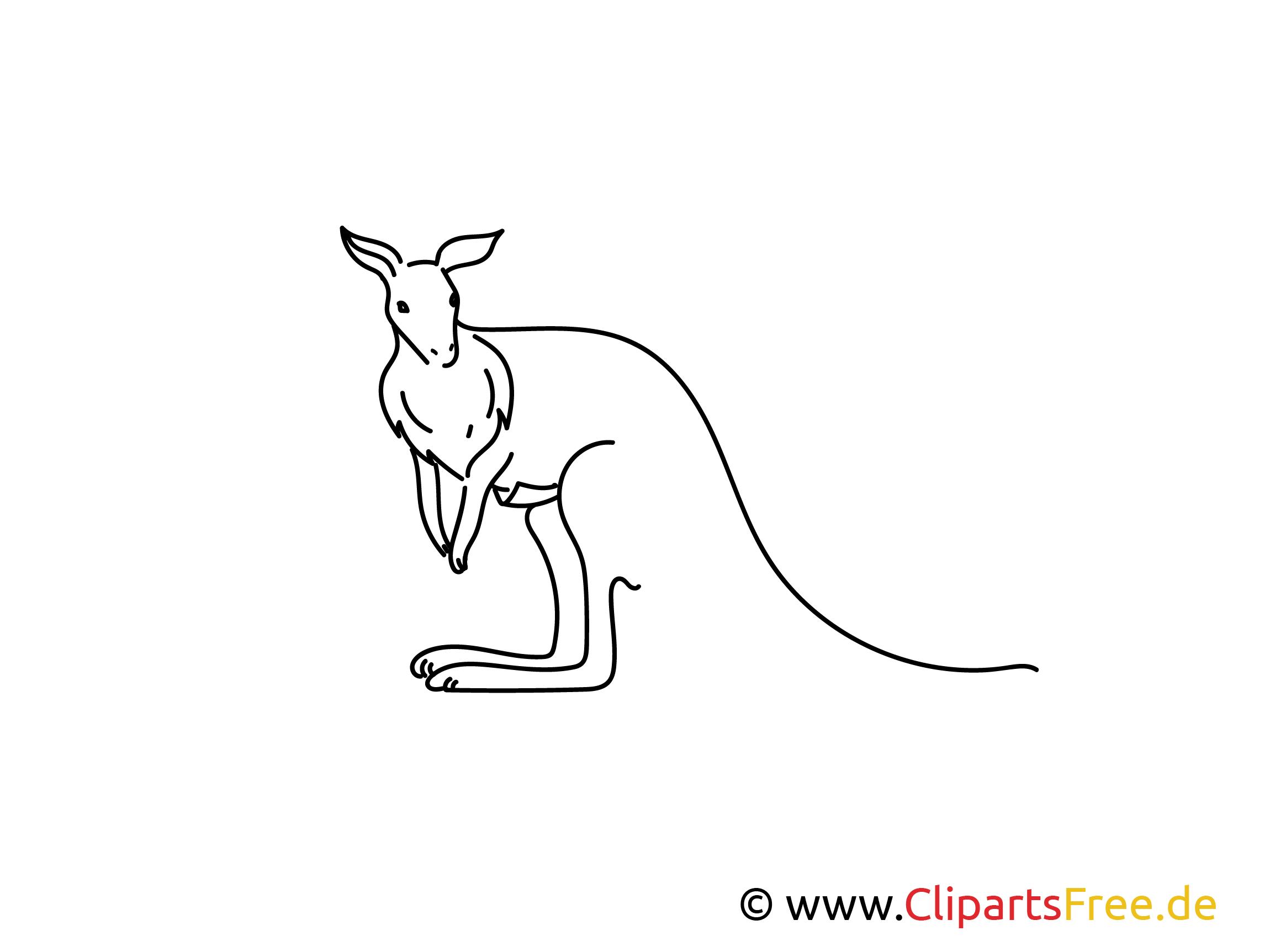 Känguru einfache Weitermal-Druckvorlage kostenlos