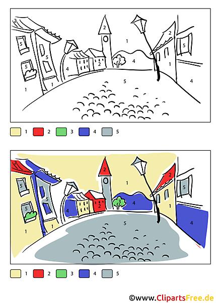 Bild zum Ausmalen für Erwachsene Stadtmotiv Paris