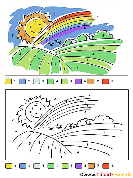 Sonne und Regenbogen Bild zum Malen nach Zahlen