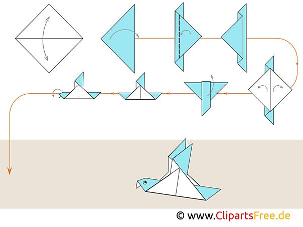 Origami Taube falten mit Papier