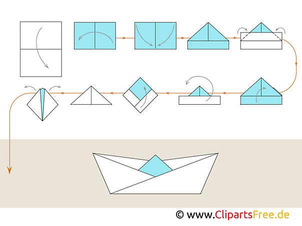 Schiff aus Papier - Origami Anleitungen zum Falten