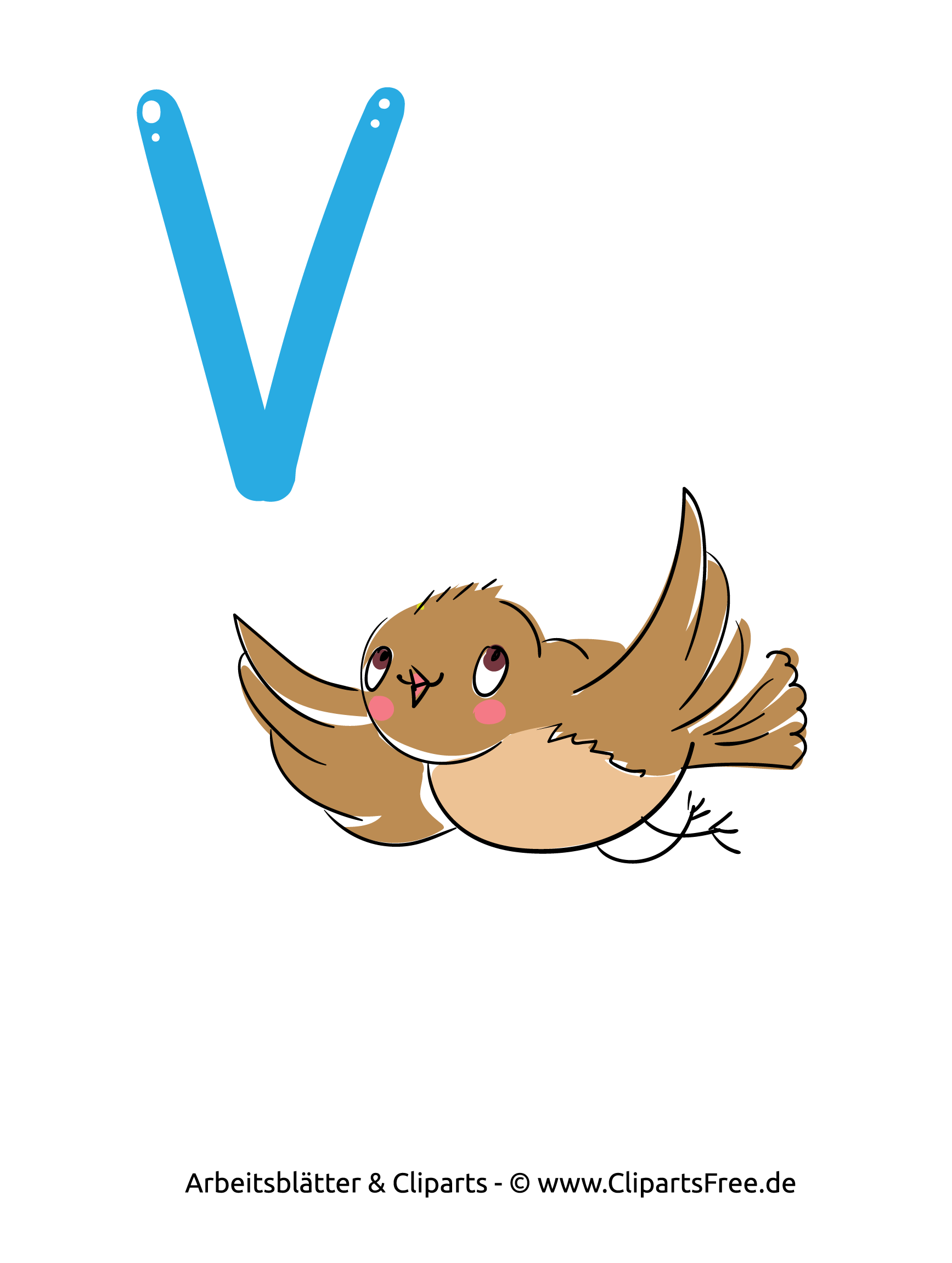 V - Arbeitsblatt mit Alphabet zum Drucken