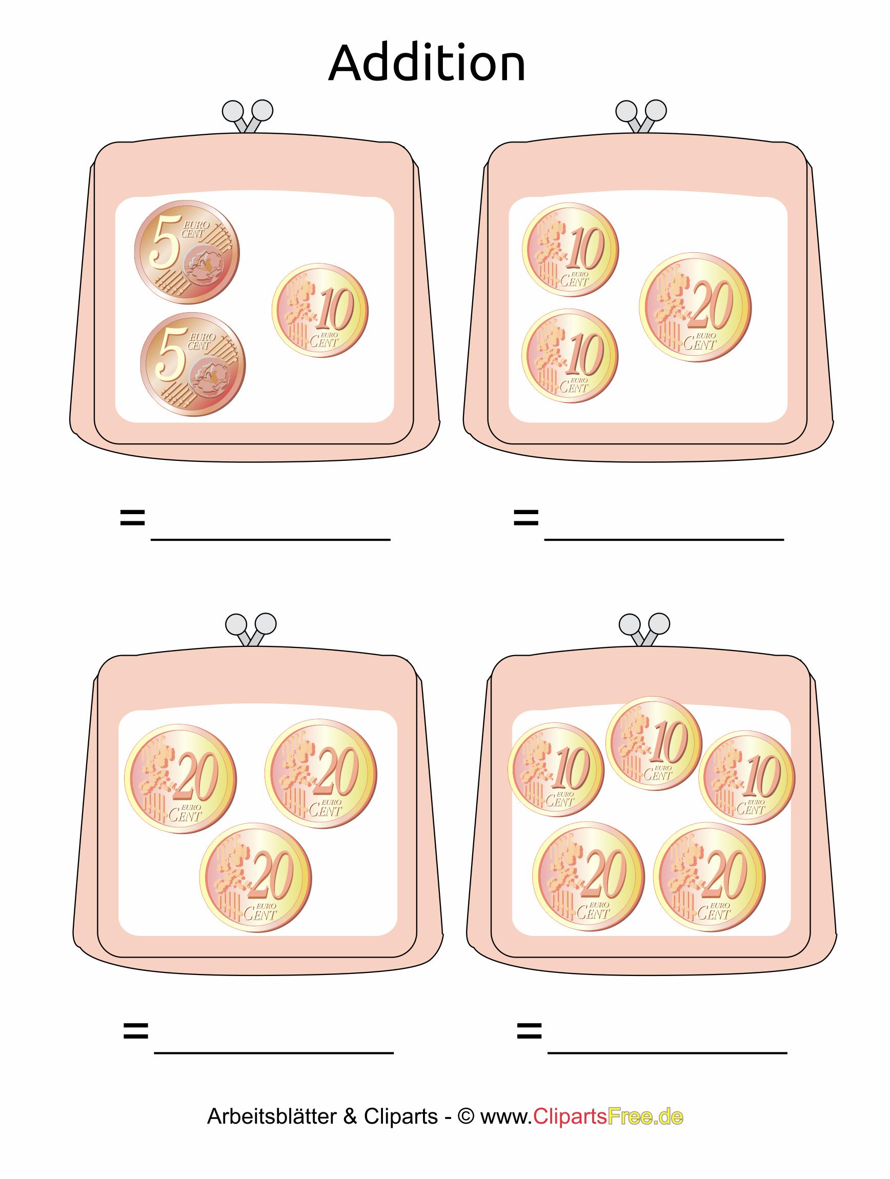 Druckvorlage für Grundschule rechnen mit Geld