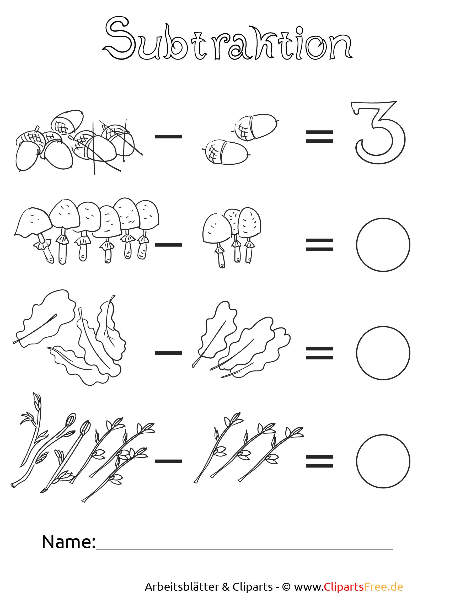 Subtraktion bis 20 für Klasse 1 als PDF zum Drucken