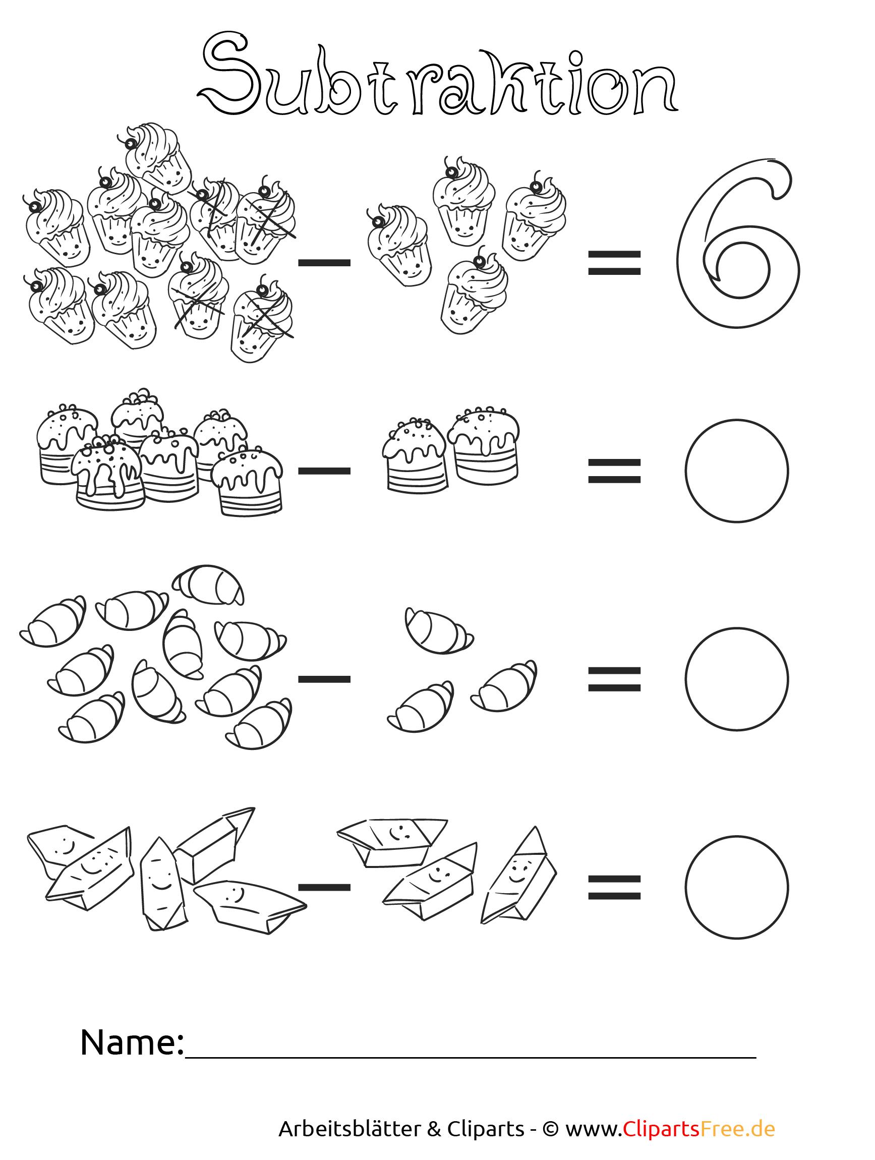 Subtraktion Zahlenraum bis 10 für Grundschule Druckvorlage