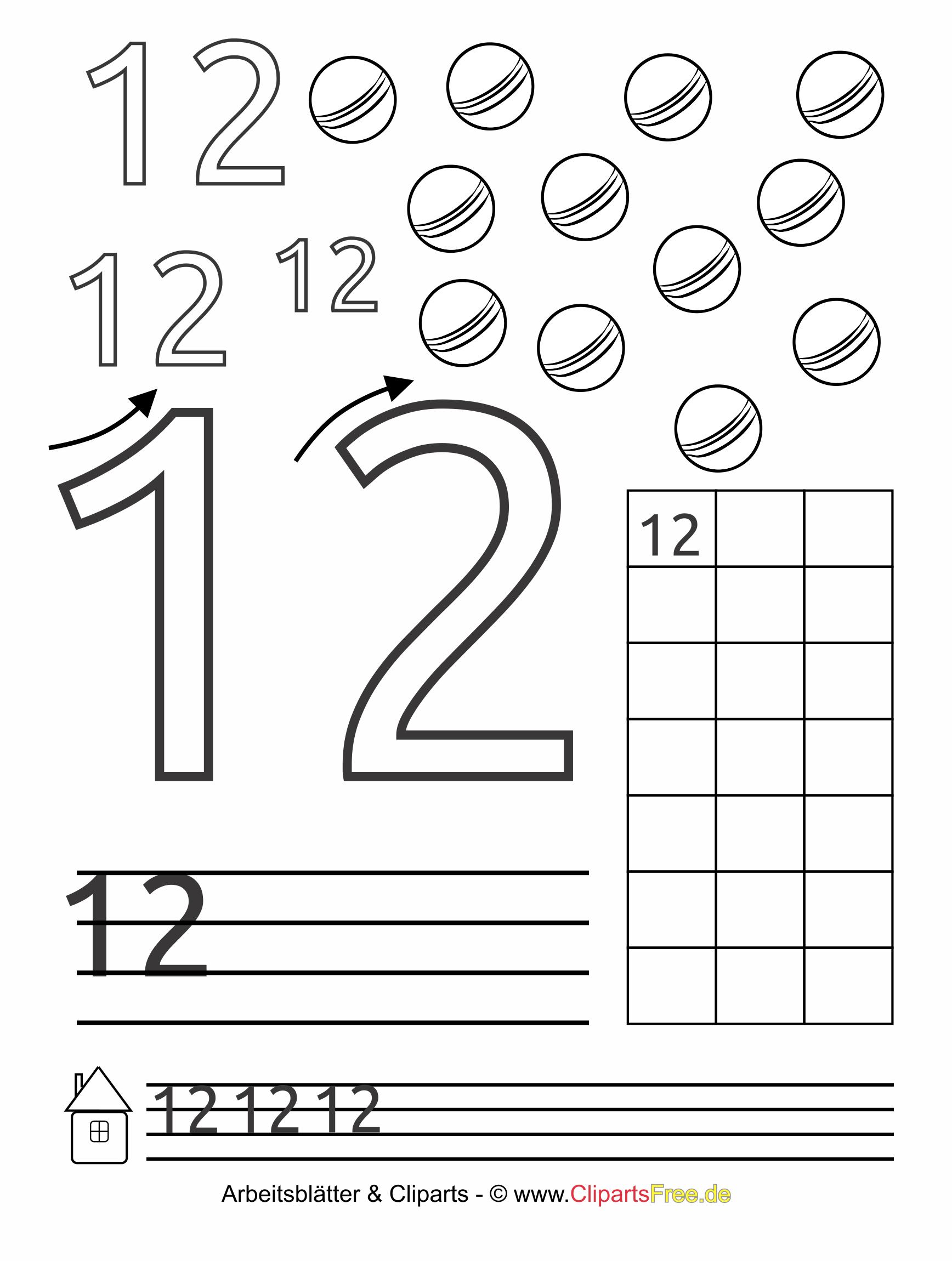 12 - Zahlen ausdrucken gratis