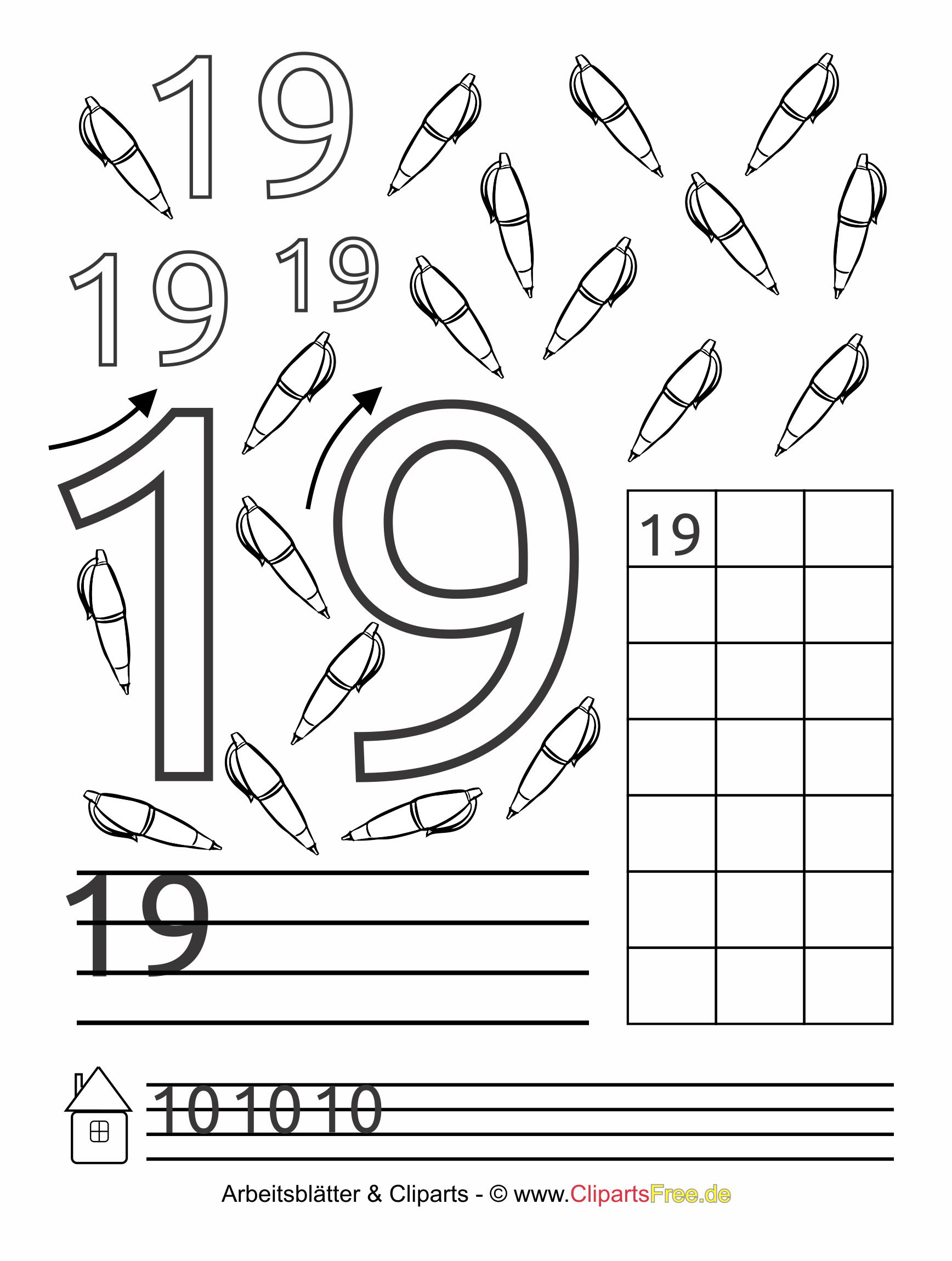 19 - Lernvorlage Zahlen lernen zum Drucken