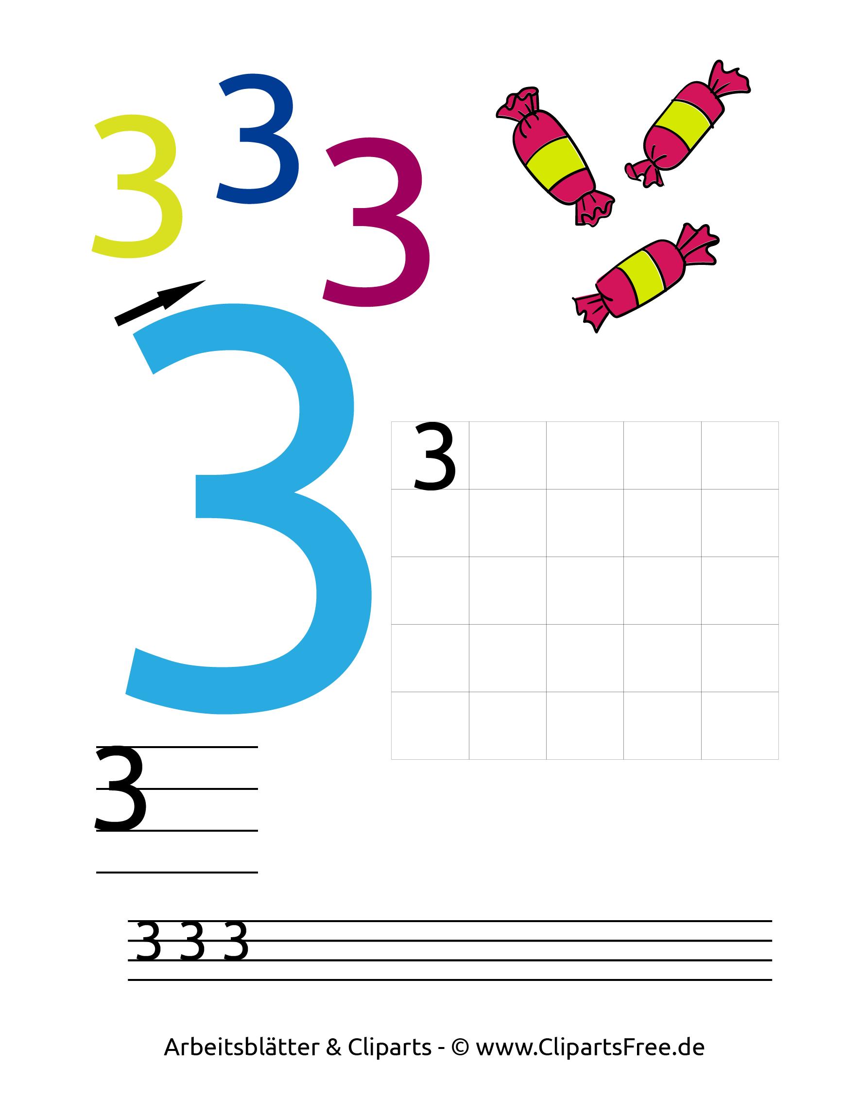 3 - Mathe Arbeitsblätter Zahlen lernen 1. Klasse