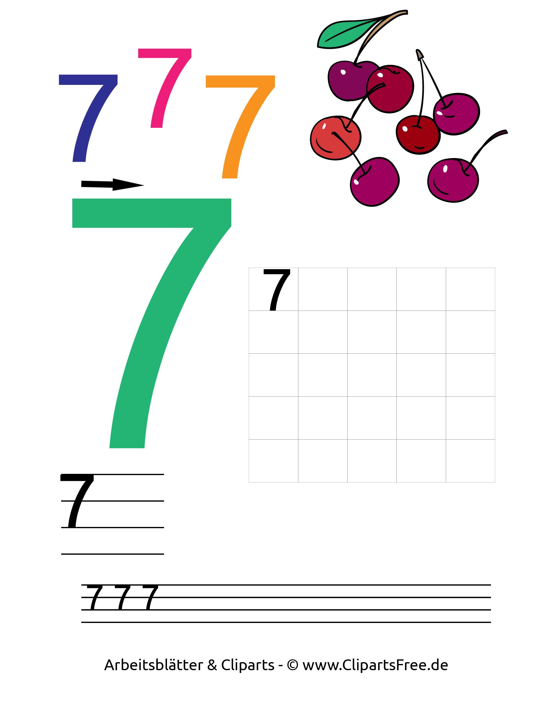 7 - Zahlen zum Ausdrucken 1-10