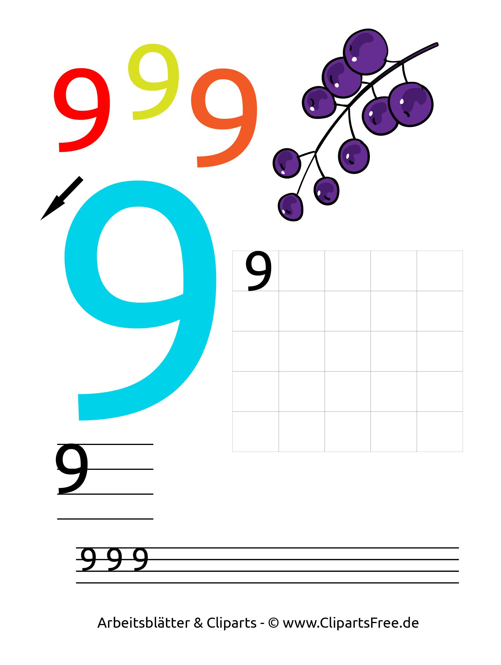9 - Zahlen lernen Kindergarten Arbeitsblätter