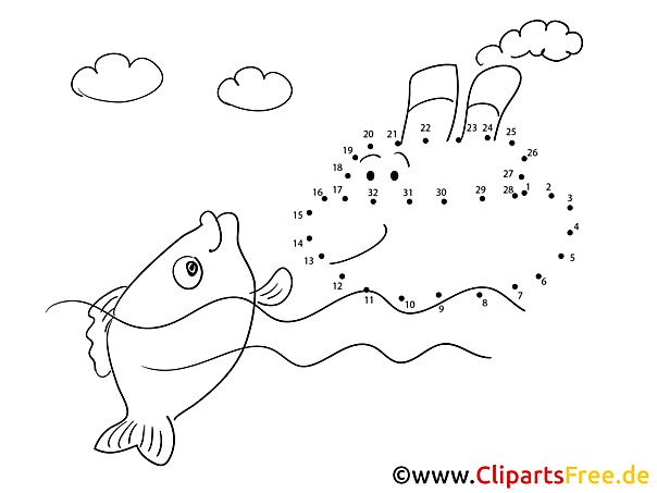 kostenlose malvorlage malen nach zahlen fisch im wasser