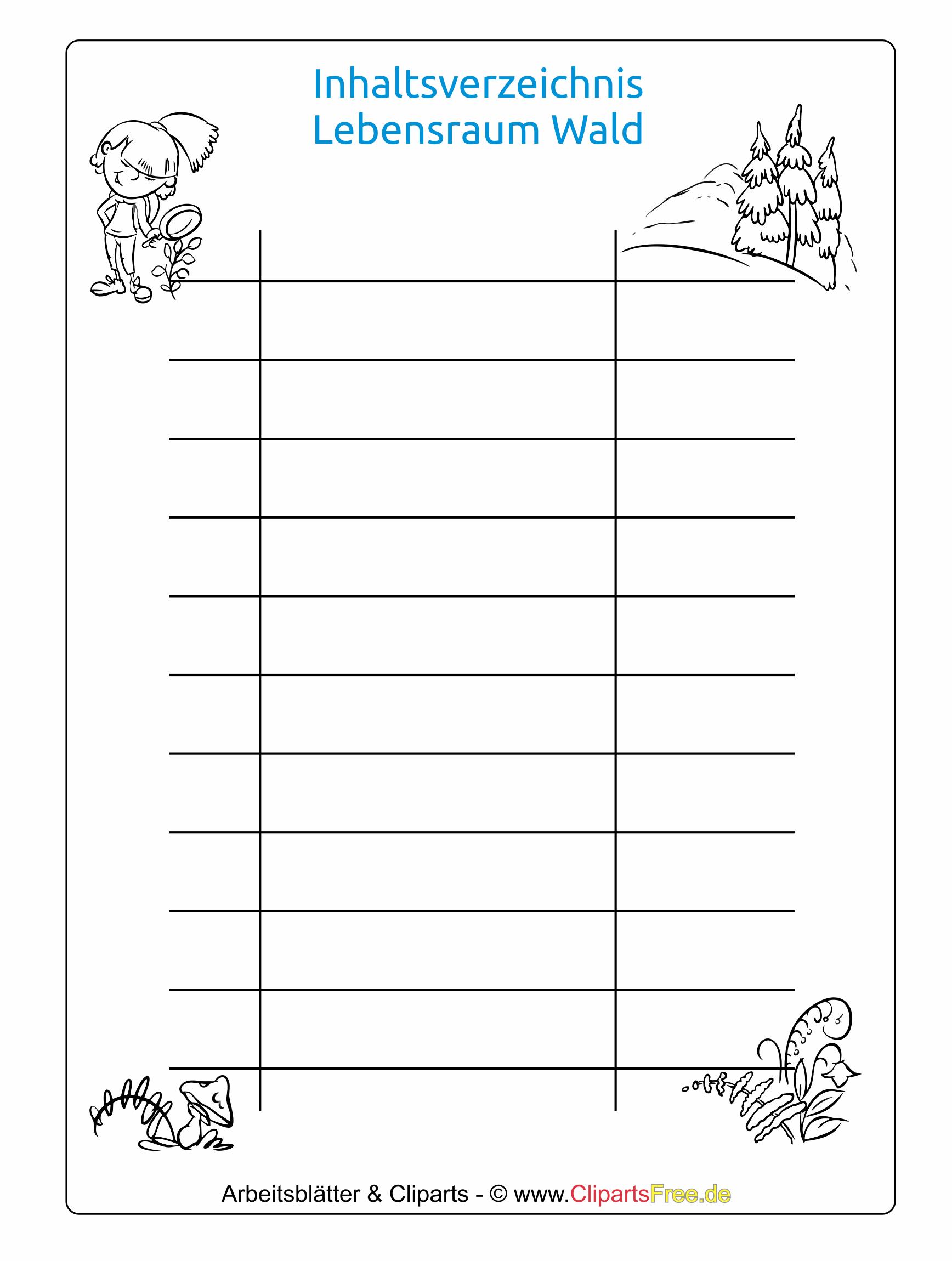 Kostenlose Inhaltsverzeichnis Vorlage für die Schule