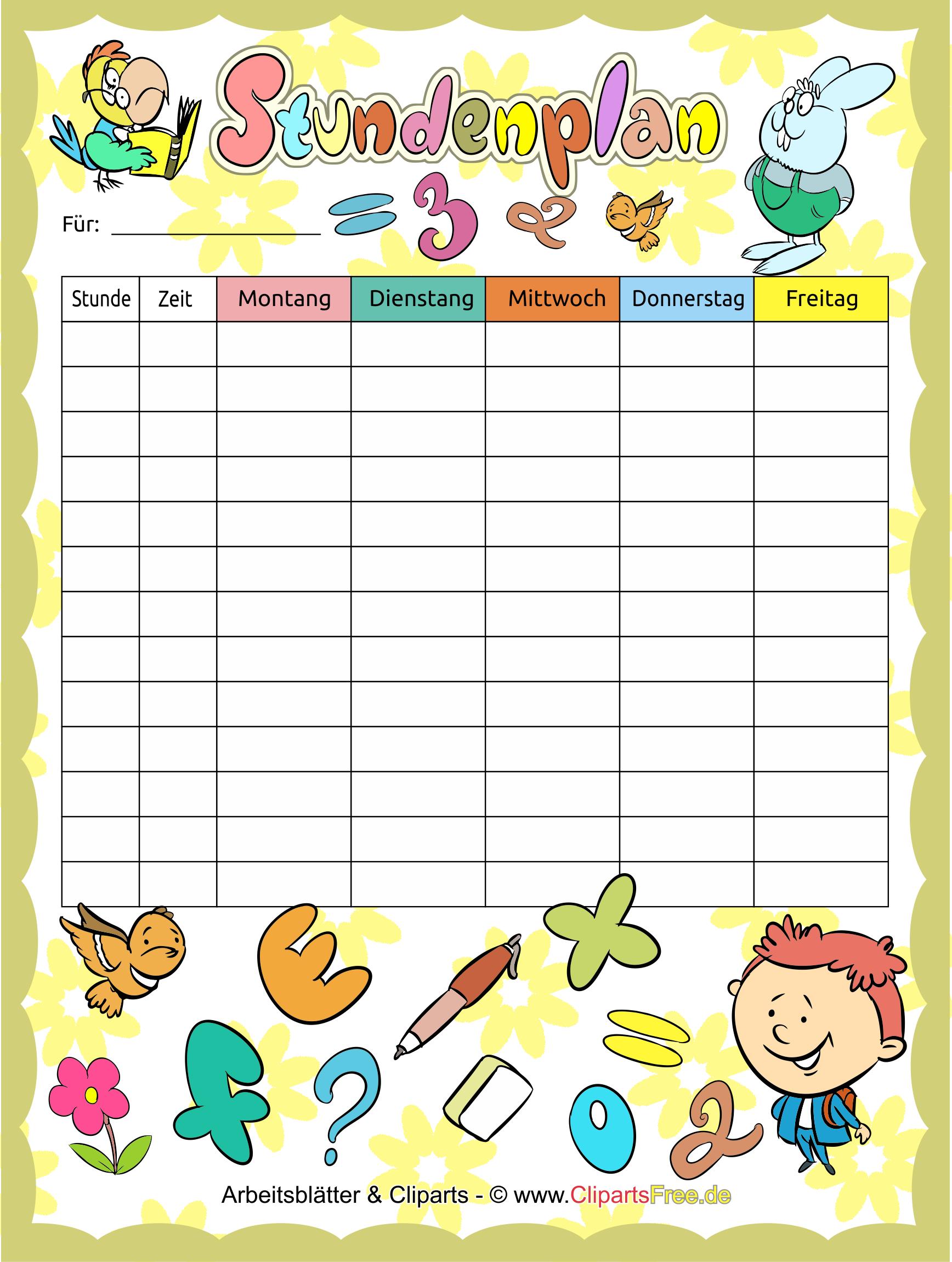 stundenpläne im pdfformat für kinder