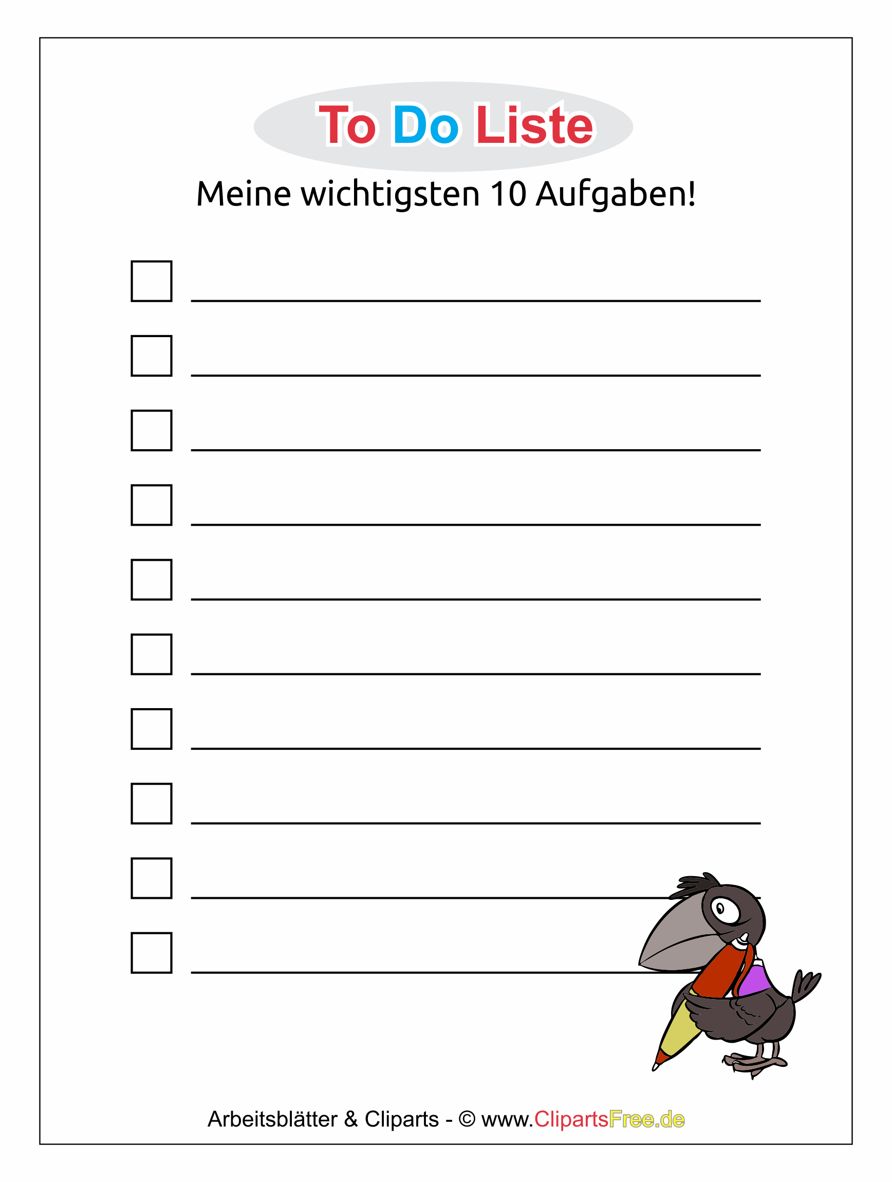 ToDo-Liste als Vorlage zum Download im PDF