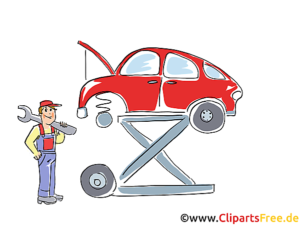 Auto Auf Der Hebebühne Clipart Bild Grafik Cartoon Illustration