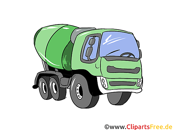 Betonmixer illustratie, afbeelding, clipart auto's