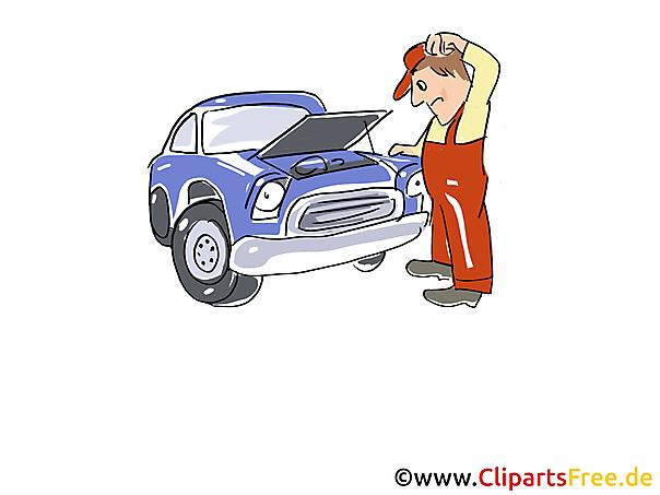 Motorvoertuig in workshop clipart, grafisch beeld, beeldverhaal, vrije illustratie