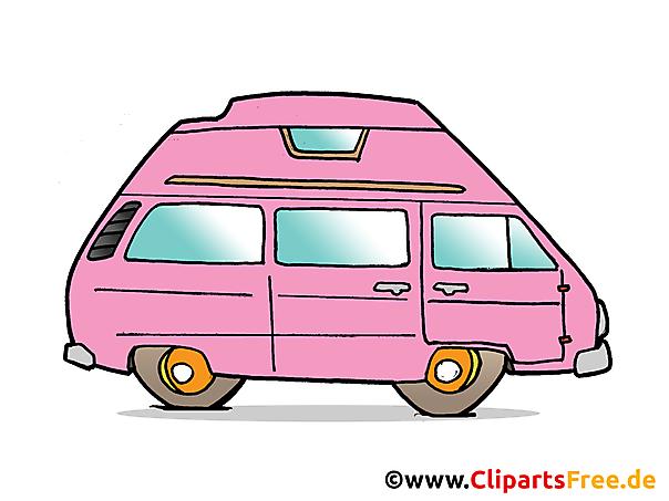 Clipart de autobús rosa sobre el tema de los coches