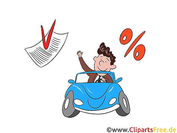 Zinsen für Kredit PKW Clipart, Bild, Grafik, Illustration