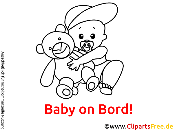 Schwarz Weiss Cartoon Baby On Bord