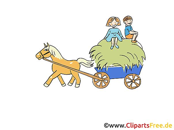 Bild Bauernhof Angespanntes Pferd mit Wagen