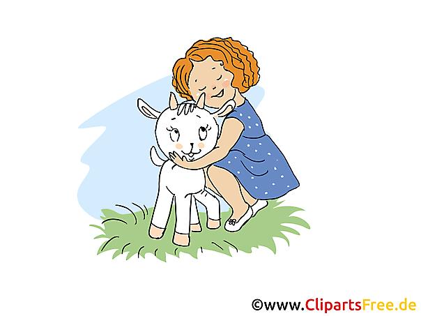 ヤギのイメージ、クリップアート、漫画、アートワークを持つ少女