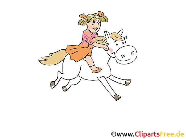 Mädchen reitet auf Pony Bild, Illustration, Grafik, Clipart