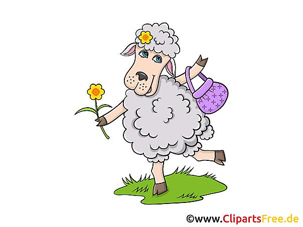 Romantisches Schaf Clipart, Grafik, Illustration, Bild gratis