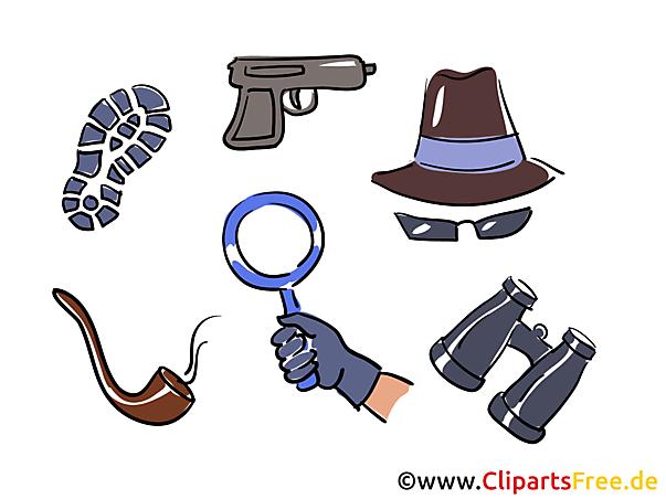 探偵作業クリップアート画像