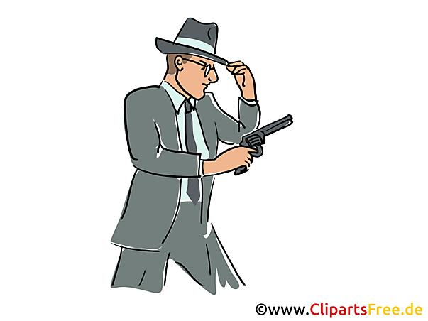 Detective met pistoolillustratie, klemkunst