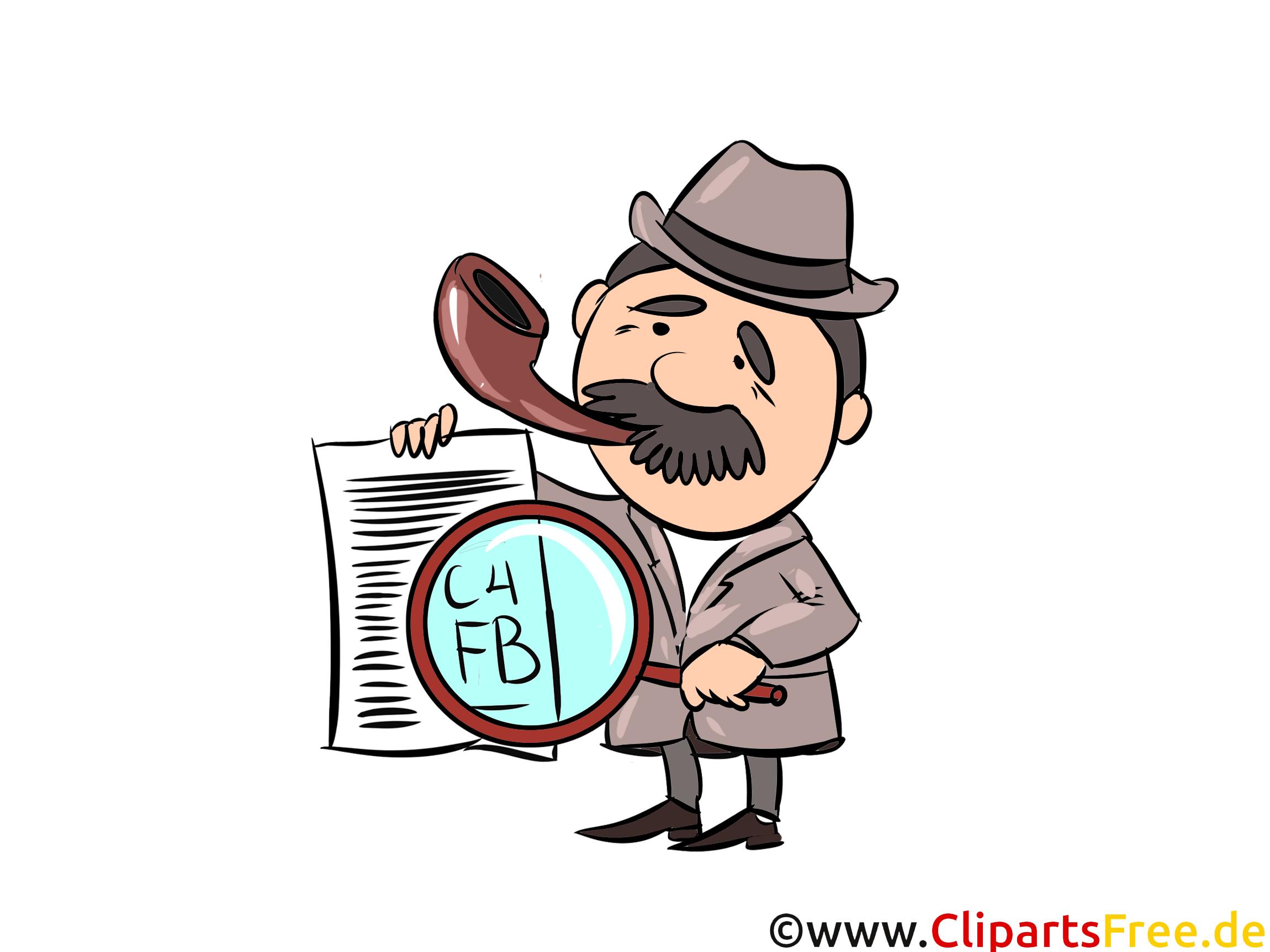 新聞と虫眼鏡のイラストとクリップアートの探偵
