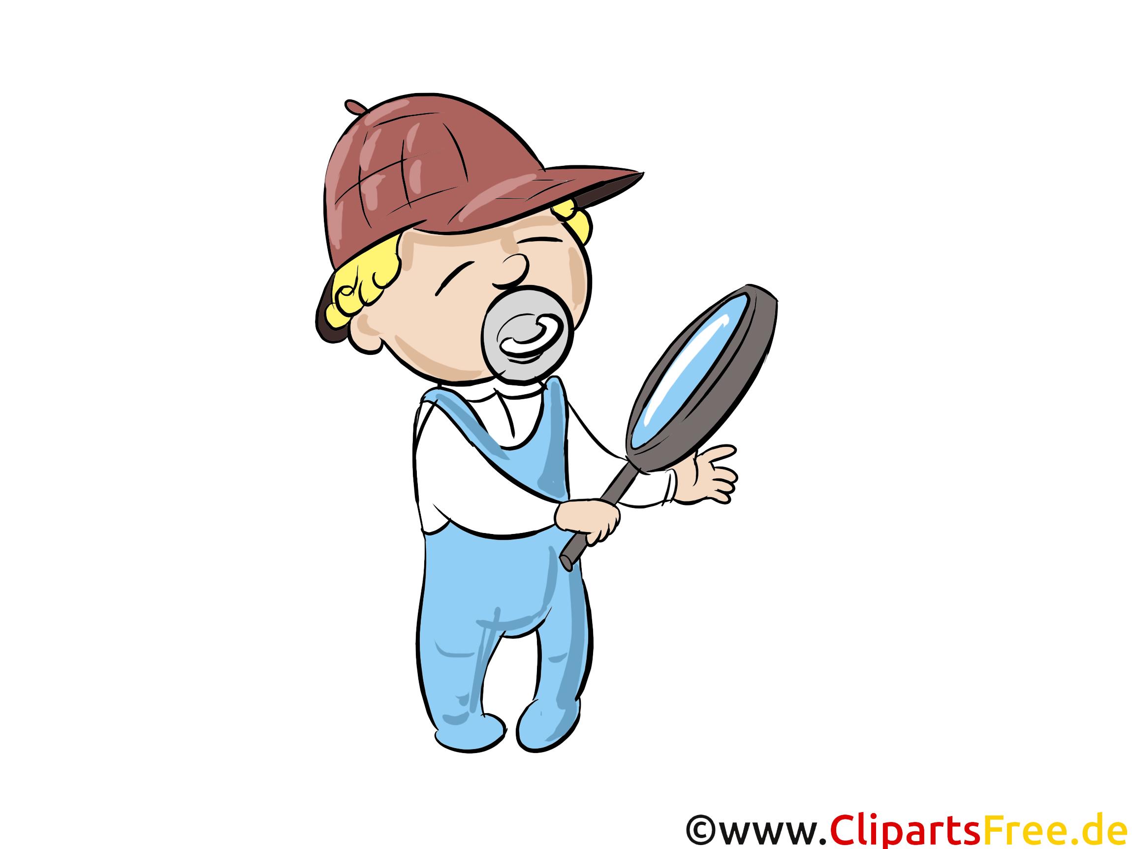 Illustration Baby-Detektiv mit Vergrösserungsglas, Lupe