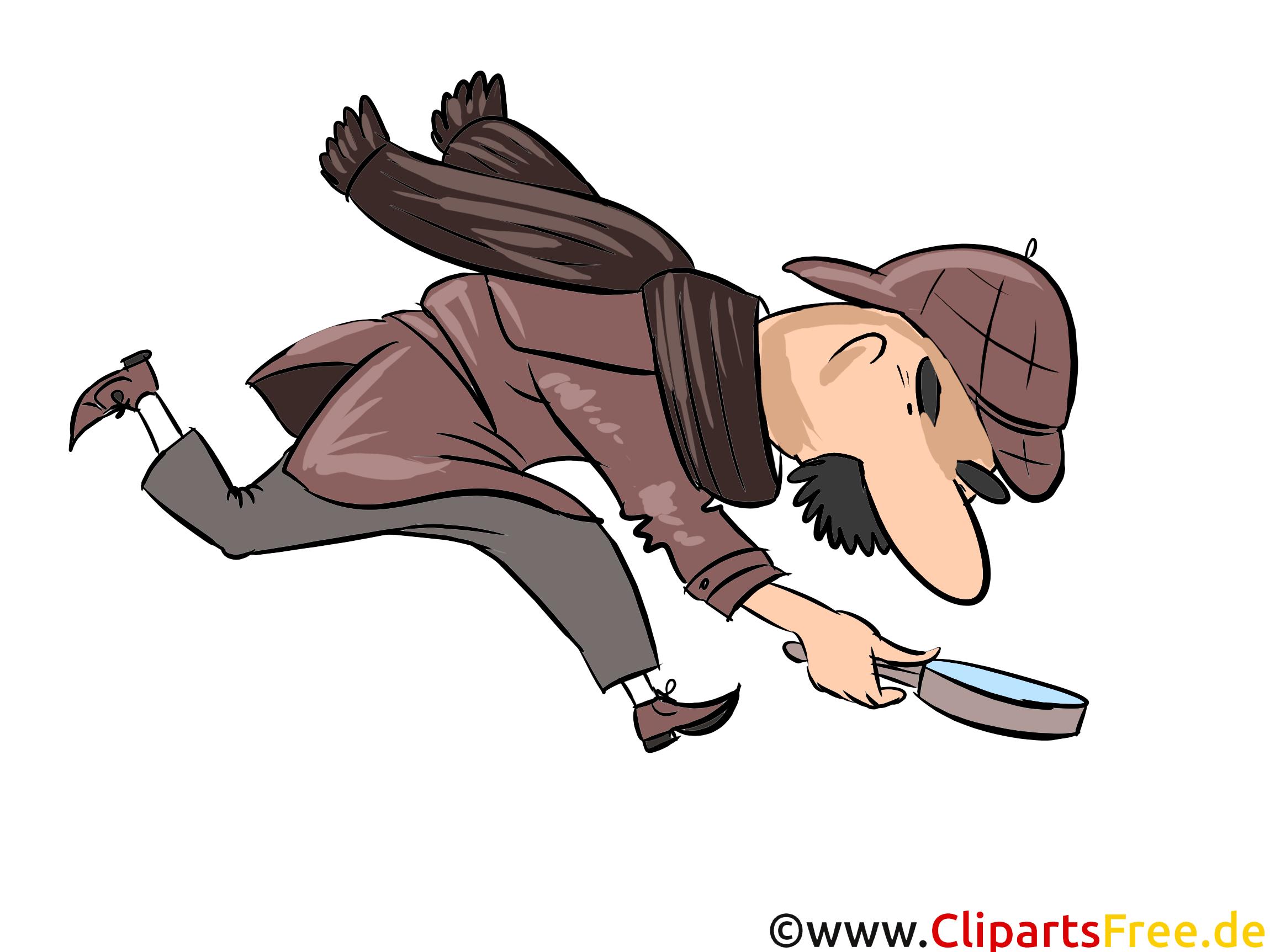 Kriminalpolizei auf Spursuche Illustration, Bild, Comic, Cartoon