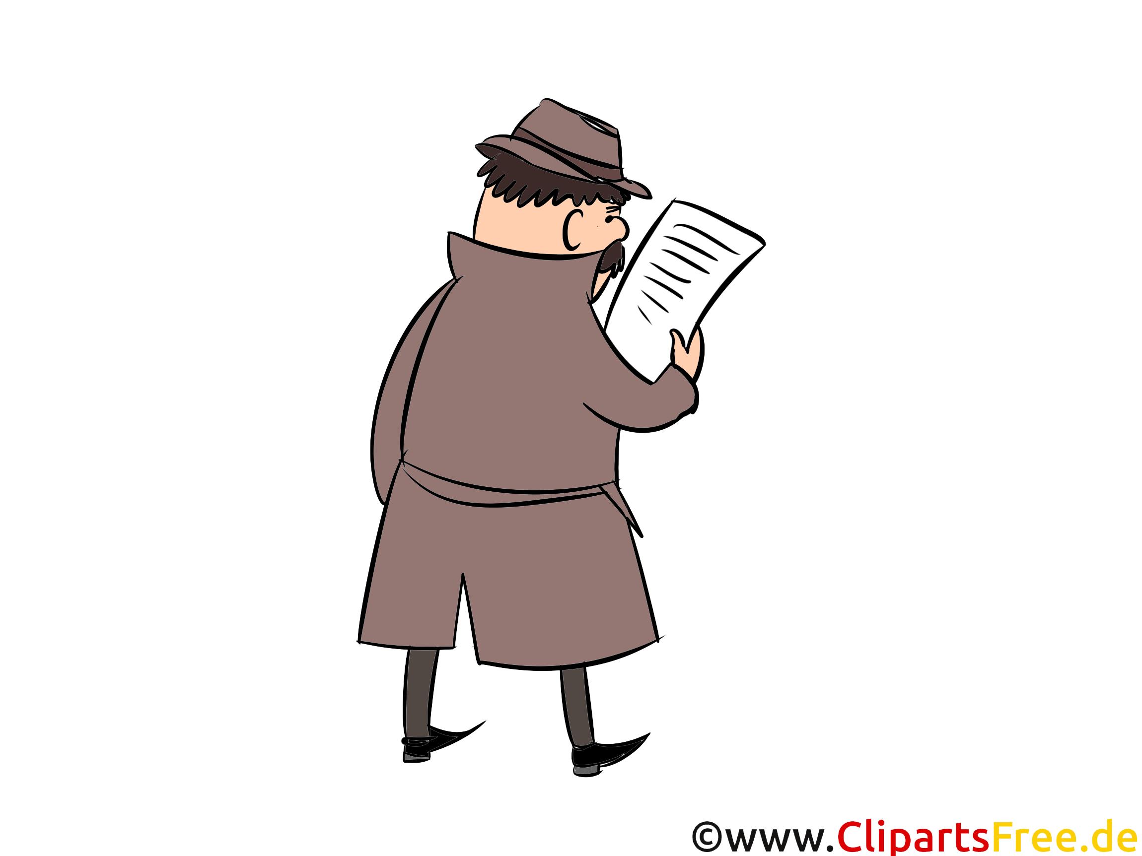 Mann im Regenmantel und Hut Clipart, Illustration, Bild, Comic