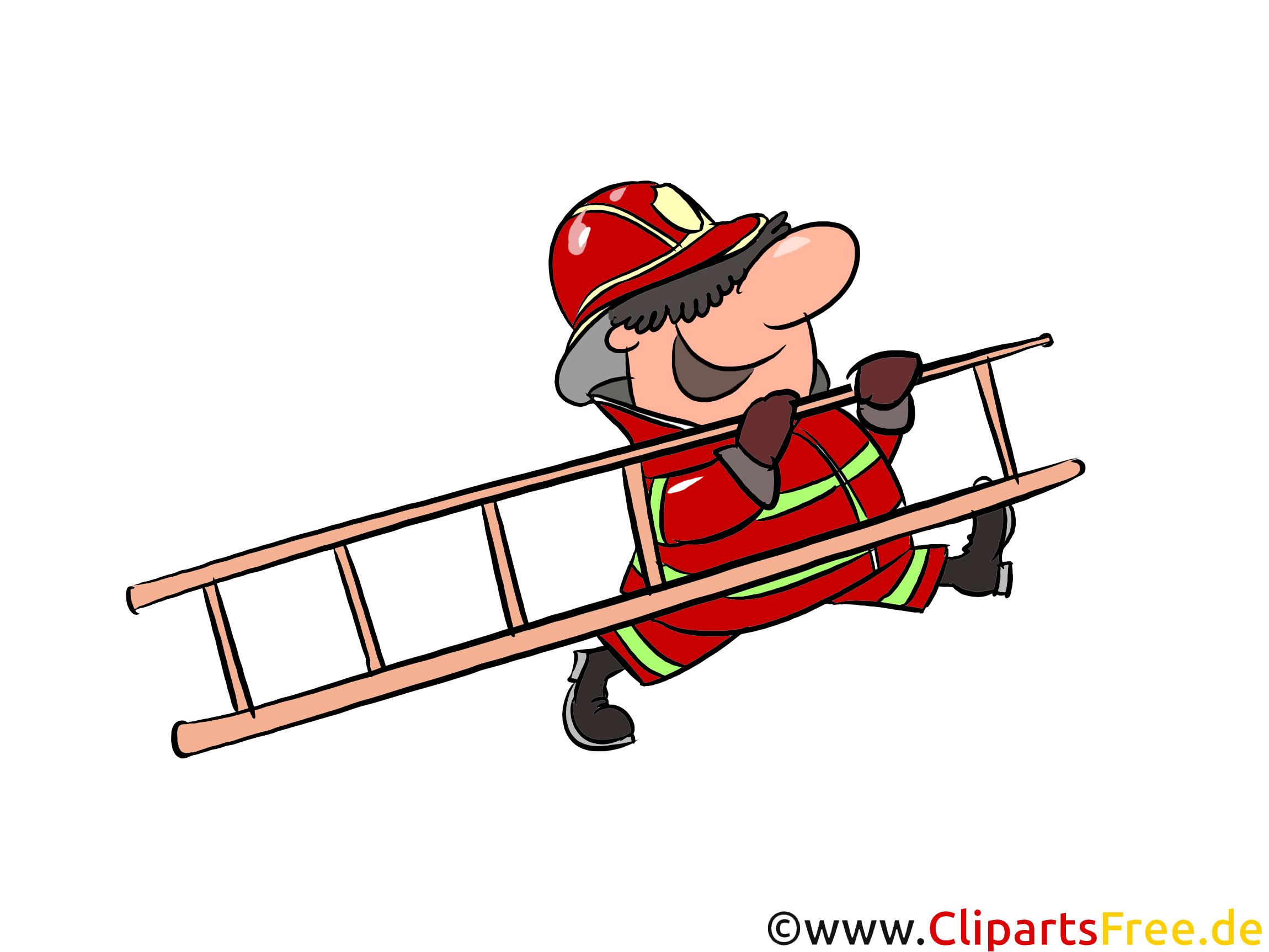 はしごのイラスト、クリップアート、絵の消防士男